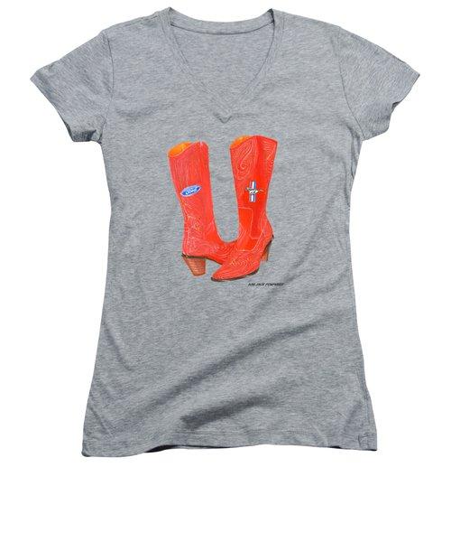 Mustang Sally Kick Ass Boots Women's V-Neck T-Shirt