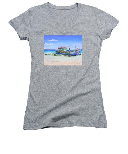 Mv Alice Mary Women's V-Neck T-Shirt (Junior Cut) by Patricia Piffath