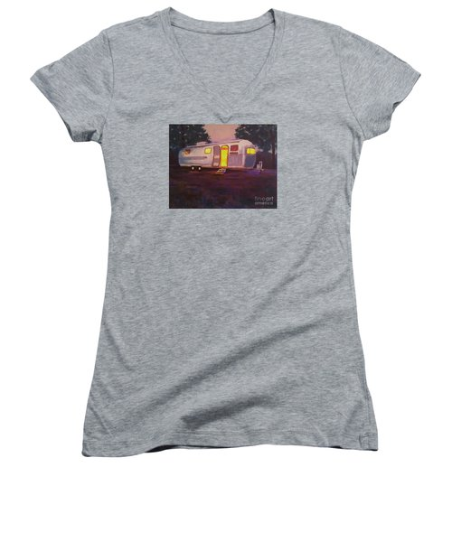 Women's V-Neck T-Shirt (Junior Cut) featuring the painting My Airstream Dream II by Suzanne McKay