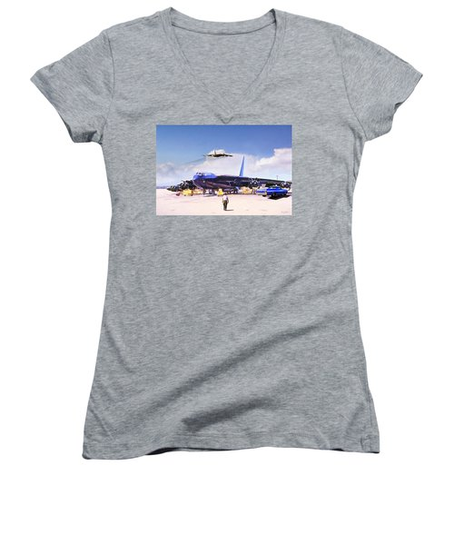 Women's V-Neck T-Shirt (Junior Cut) featuring the digital art My Baby B-52 by Peter Chilelli