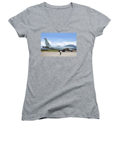 Women's V-Neck T-Shirt (Junior Cut) featuring the digital art My Baby Kc-135 by Peter Chilelli