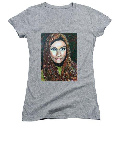 My Fair Lady II - Come Home - Geylang Si Paku Geylang Women's V-Neck T-Shirt (Junior Cut) by Belinda Low