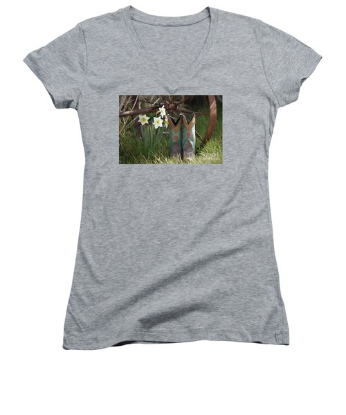 Women's V-Neck T-Shirt (Junior Cut) featuring the photograph My Favorite Boots by Benanne Stiens