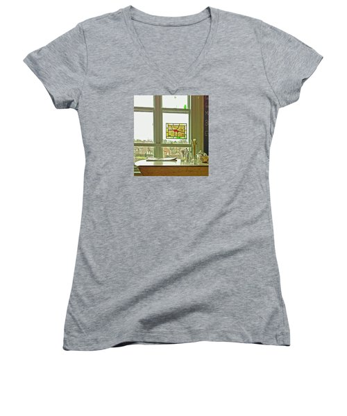 Women's V-Neck T-Shirt featuring the photograph My Favourite Cafe by Anne Kotan