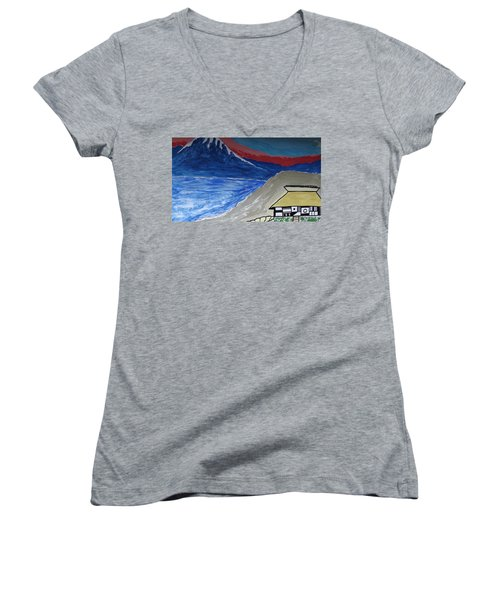 My Fuji House In Japan  Women's V-Neck (Athletic Fit)