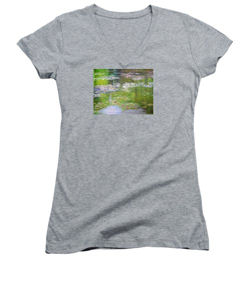 Women's V-Neck T-Shirt (Junior Cut) featuring the painting My Giverny by Sandra Nardone