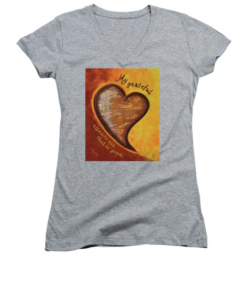 My Grateful Heart Women's V-Neck (Athletic Fit)