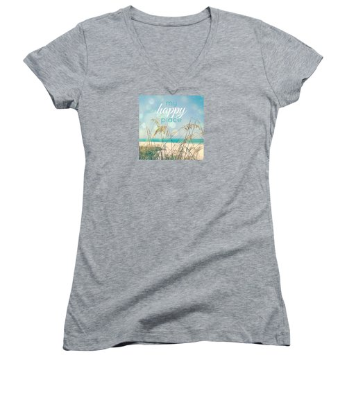 My Happy Place Women's V-Neck T-Shirt (Junior Cut) by Valerie Reeves