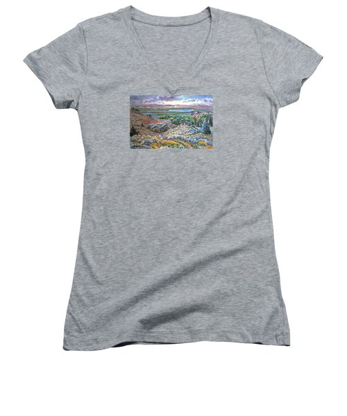 Women's V-Neck T-Shirt (Junior Cut) featuring the painting My Home Looking West by Dawn Senior-Trask