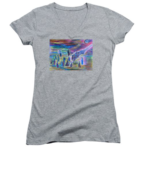 My People Women's V-Neck T-Shirt (Junior Cut) by Vadim Levin