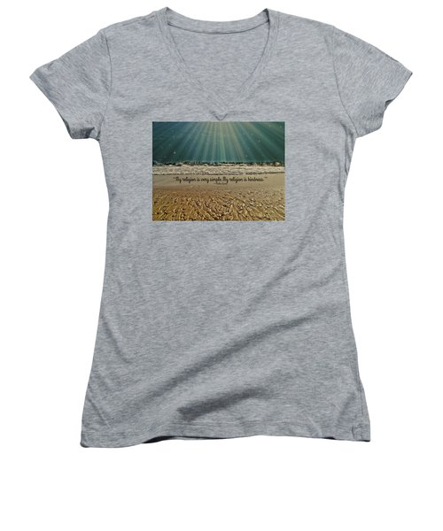 Women's V-Neck T-Shirt (Junior Cut) featuring the mixed media My Religion by Trish Tritz