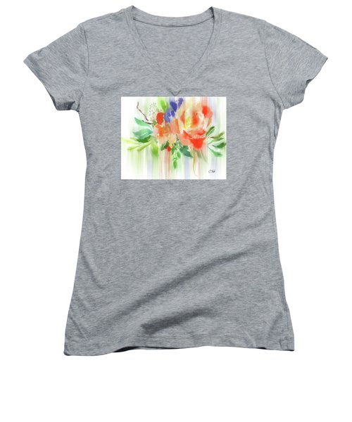 Women's V-Neck T-Shirt (Junior Cut) featuring the painting My Roses Gently Weep by Colleen Taylor