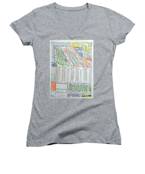 My Side Yard Women's V-Neck T-Shirt (Junior Cut) by J R Seymour