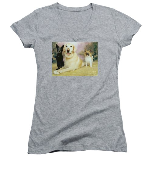 My Son's Three Dogs Women's V-Neck (Athletic Fit)