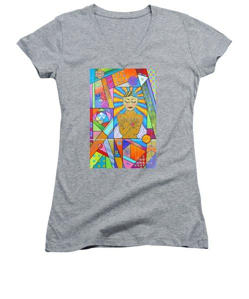 My Soul, I Carry Women's V-Neck T-Shirt (Junior Cut) by Jeremy Aiyadurai
