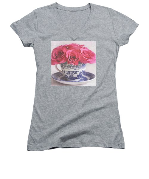 Women's V-Neck T-Shirt (Junior Cut) featuring the photograph My Sweet Charity by Lyn Randle