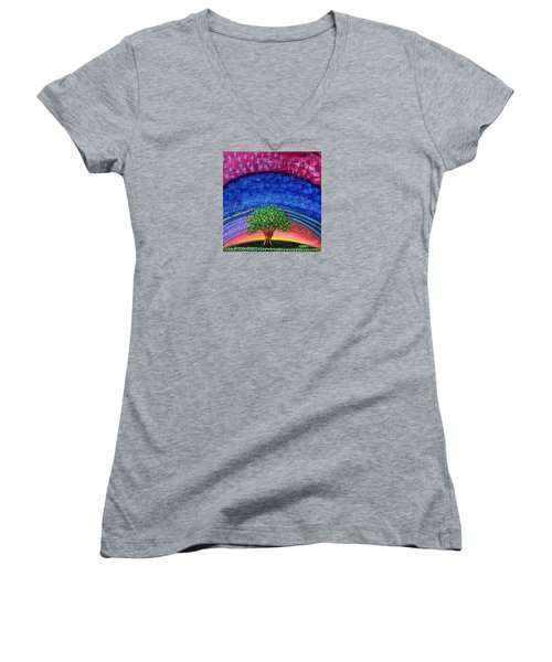 Tree At Nightfall Women's V-Neck T-Shirt