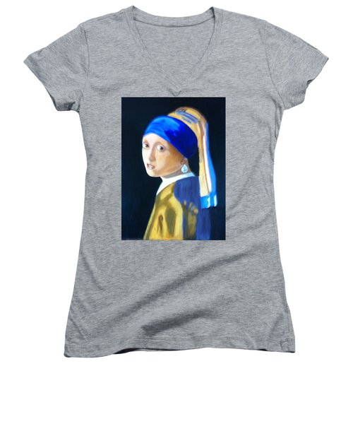 Women's V-Neck T-Shirt (Junior Cut) featuring the painting My Version-girl With The Pearl Earring by Rod Jellison