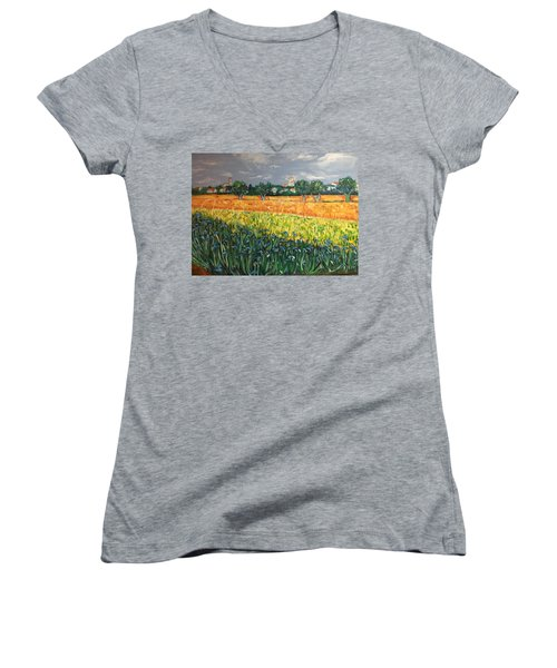 My View Of Arles With Irises Women's V-Neck (Athletic Fit)
