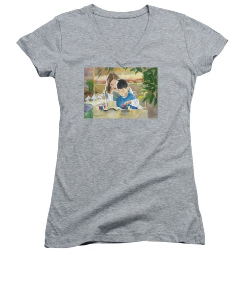 My Work Women's V-Neck T-Shirt (Junior Cut) by Marilyn Jacobson