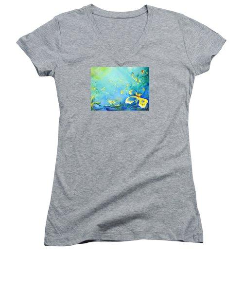 My World Women's V-Neck T-Shirt (Junior Cut) by Teresa Wegrzyn