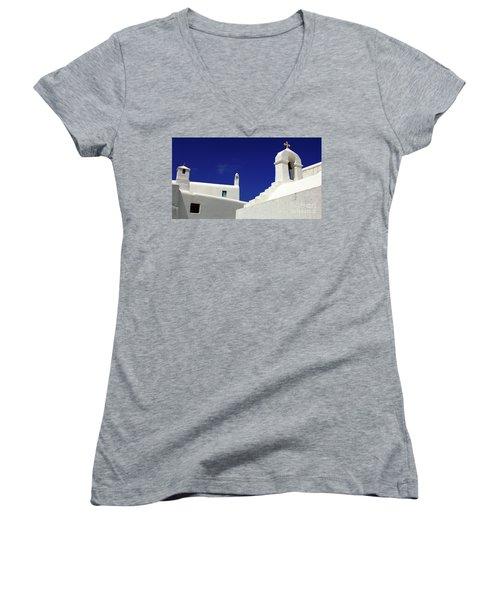 Women's V-Neck T-Shirt (Junior Cut) featuring the photograph Mykonos Greece Architectual Line 5 by Bob Christopher