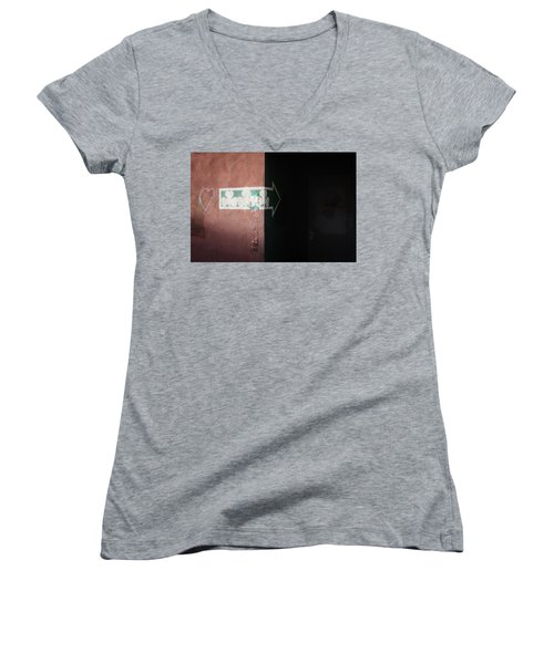 Women's V-Neck T-Shirt featuring the photograph Mystery In The Doorway by Monte Stevens
