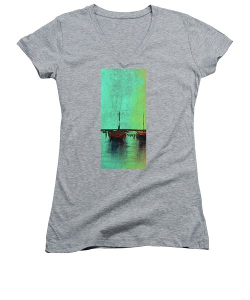 Mystic Bay Triptych 1 Of 3 Women's V-Neck T-Shirt