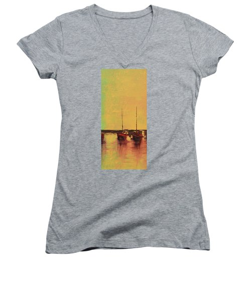 Mystic Bay Triptych 2 Of 3 Women's V-Neck (Athletic Fit)
