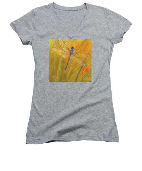 Mystic Dragonfly Women's V-Neck T-Shirt (Junior Cut) by Mary Hubley