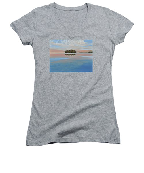 Women's V-Neck T-Shirt (Junior Cut) featuring the painting Mystic Island by Kenneth M  Kirsch