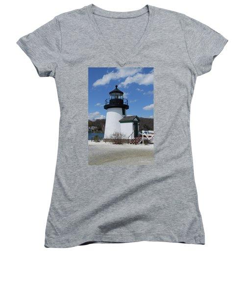 Mystic Lighthouse Women's V-Neck (Athletic Fit)