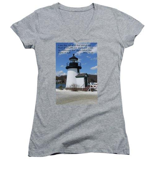 Mystic Lighthouse John 8-12 Women's V-Neck T-Shirt