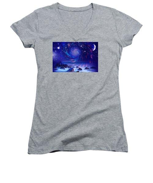 Women's V-Neck T-Shirt (Junior Cut) featuring the mixed media Mystic Lights by Gabriella Weninger - David