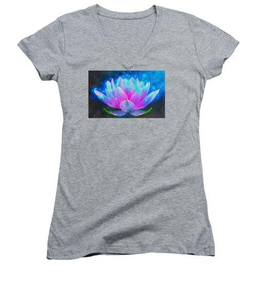 Mystic Lotus Women's V-Neck T-Shirt (Junior Cut) by Anton Kalinichev