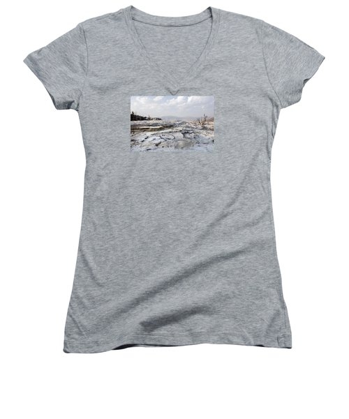 Mystic Scene From The Lower Terrace In Yellowstone National Park Women's V-Neck T-Shirt