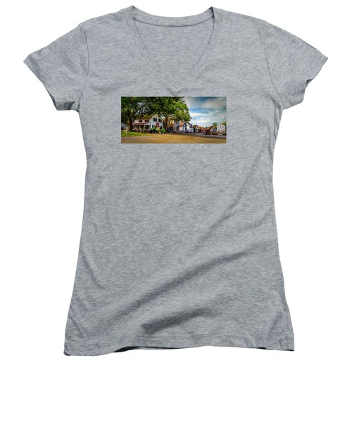 Mystic Seaport Village Women's V-Neck T-Shirt (Junior Cut)