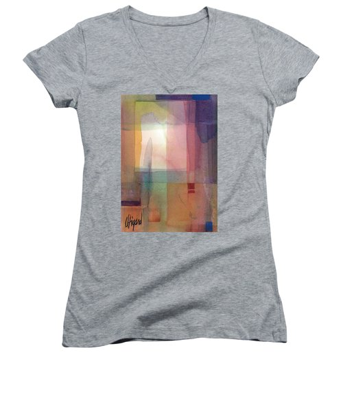 Women's V-Neck featuring the painting Mystic Windows by Carolyn Utigard Thomas