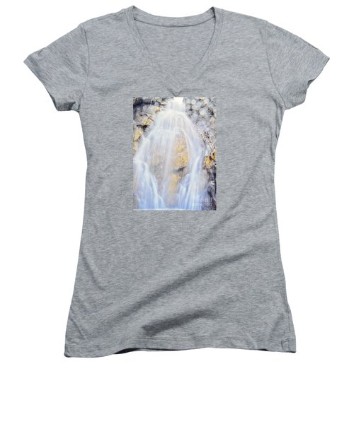 Women's V-Neck T-Shirt (Junior Cut) featuring the photograph Mystical Falls by Janie Johnson