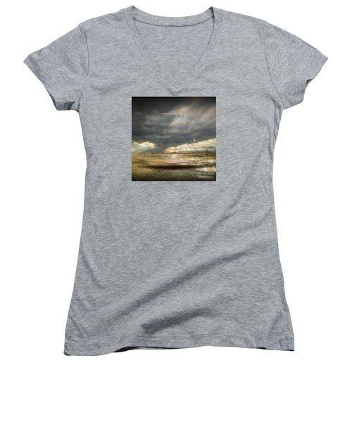 Mystical Light Women's V-Neck T-Shirt (Junior Cut) by Franziskus Pfleghart