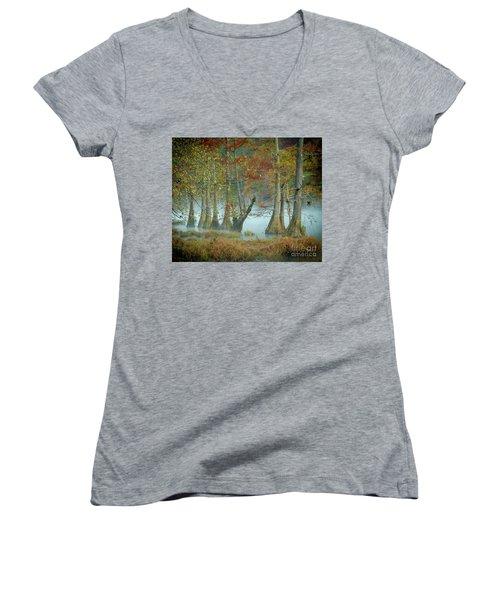 Women's V-Neck T-Shirt (Junior Cut) featuring the photograph Mystical Mist by Iris Greenwell