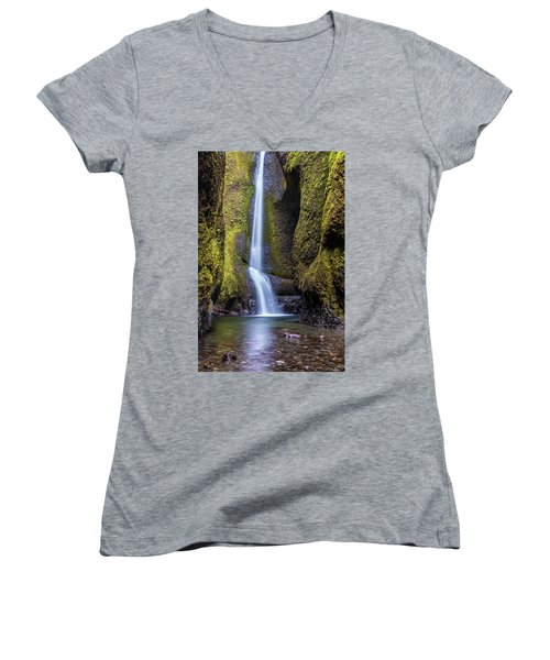 Women's V-Neck T-Shirt (Junior Cut) featuring the photograph Mystical Oneonta Falls by Pierre Leclerc Photography