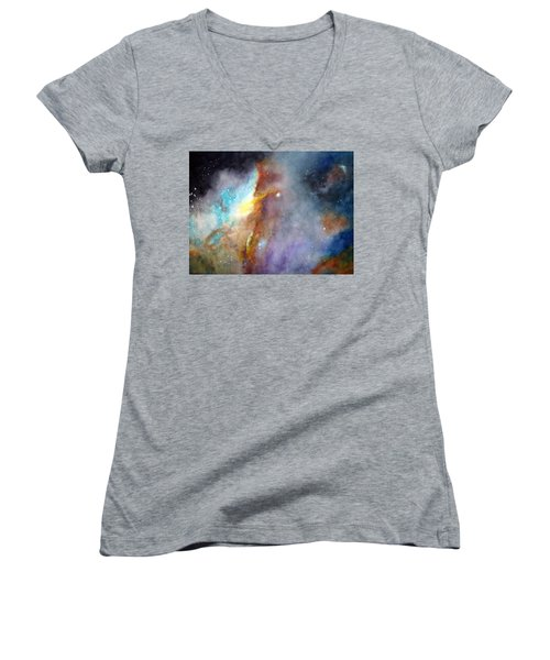 N11b Large Magellanic Cloud Women's V-Neck T-Shirt (Junior Cut) by Allison Ashton