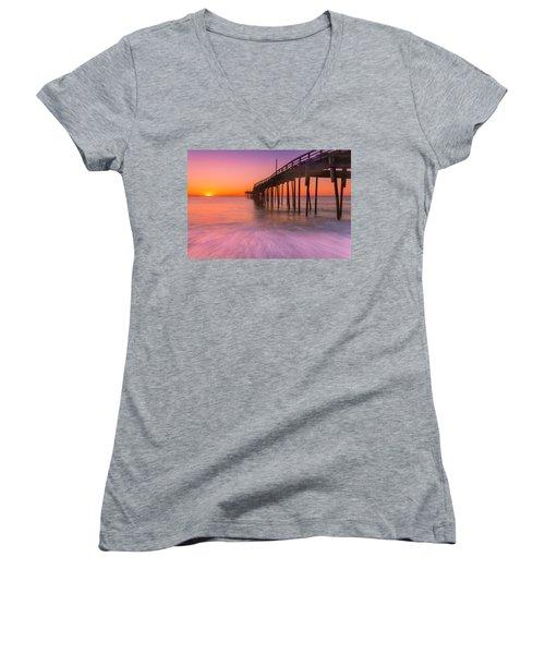 Nags Head Avon Fishing Pier At Sunrise Women's V-Neck T-Shirt (Junior Cut) by Ranjay Mitra
