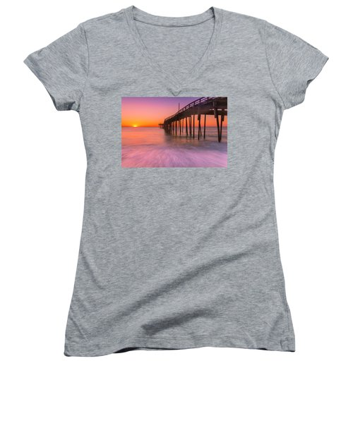 Nags Head Avon Fishing Pier At Sunrise Women's V-Neck (Athletic Fit)