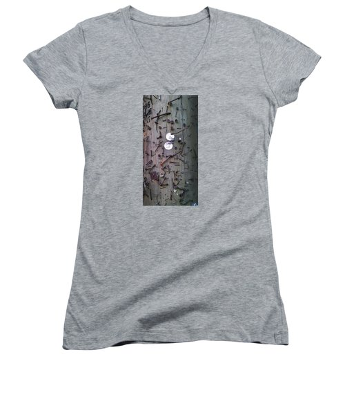Women's V-Neck T-Shirt (Junior Cut) featuring the photograph Nailed It by Steve Sperry
