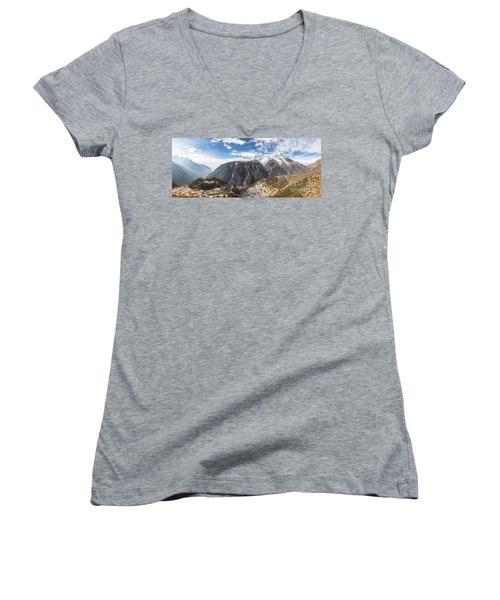 Namche Bazar Panorama Women's V-Neck T-Shirt