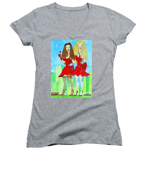 Nancy And Nicole Going Out At Night Women's V-Neck T-Shirt