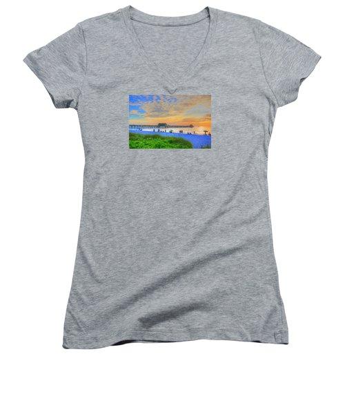 Naples Beach Women's V-Neck T-Shirt (Junior Cut) by Sharon Batdorf