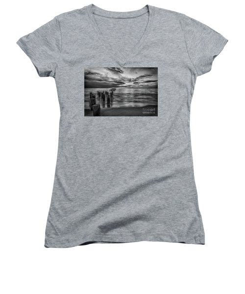 Naples Sunset In Black And White Women's V-Neck
